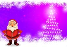 Glückliches Weihnachten der frohen Weihnachten, Sankt mit rendeer stock abbildung