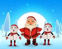 Glückliches Weihnachten der frohen Weihnachten, Sankt mit rendeer lizenzfreie stockfotografie