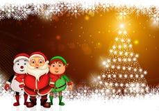 Glückliches Weihnachten der frohen Weihnachten, Sankt mit rendeer lizenzfreie stockfotos