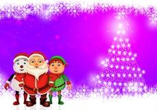 Glückliches Weihnachten der frohen Weihnachten, Sankt mit rendeer stockfoto