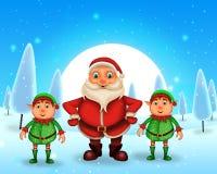 Glückliches Weihnachten der frohen Weihnachten, Sankt mit rendeer lizenzfreies stockbild