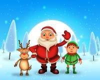 Glückliches Weihnachten der frohen Weihnachten, Sankt mit rendeer lizenzfreie stockbilder
