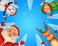 Glückliches Weihnachten der frohen Weihnachten, Sankt mit rendeer stockbild