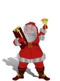 Glückliches Weihnachten Sankt mit Geschenk und Glocke Stockfotos