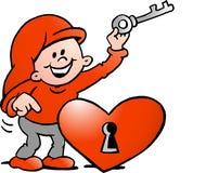 Glückliches Weihnachtselfe mit dem Schlüssel zum Herzen Lizenzfreie Stockfotos