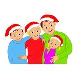 Glückliches Weihnachtsfamilienporträt Mutter, Vater, Sohn und Tochter Stockbilder