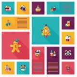 Glückliches Weihnachtsflacher APP-ui Hintergrund, eps10 Lizenzfreie Stockfotografie