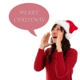 Glückliches Weihnachtsfrauenschreien Lizenzfreie Stockbilder