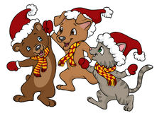 Glückliches Weihnachtsfreunde Stockfotos