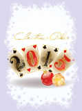 Glückliches Weihnachtskasinokarte, Vektor lizenzfreie abbildung