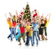 Glückliches Weihnachtsleute stockbilder