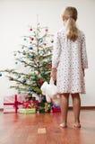 Glückliches Weihnachtsmorgen Stockfoto