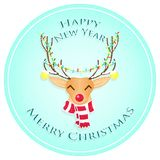 Glückliches Weihnachtsrotwild Frohe Weihnachten und guten Rutsch ins Neue Jahr Auch im corel abgehobenen Betrag stockfoto