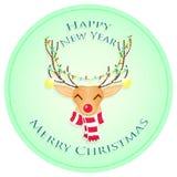 Glückliches Weihnachtsrotwild Frohe Weihnachten und guten Rutsch ins Neue Jahr Auch im corel abgehobenen Betrag stockbilder