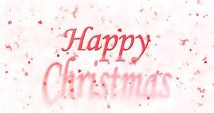 Glückliches Weihnachtstext wendet sich an Staub von der Unterseite auf weißem backgrou Lizenzfreie Stockfotos