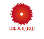 Glückliches Weltlogo Stockbilder