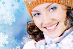 Glückliches Wintergesicht Stockfotos
