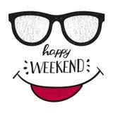 Glückliches Wochenende Positives Zitat handwrittenweekend Design Lizenzfreie Stockbilder