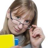 Glückliches younq blondes Studentenmädchen Lizenzfreies Stockfoto