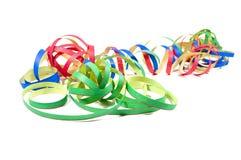 Glücksbringertalisman mit Konfettis, Korken, Sektflasche Glückliches neues Jahr Hintergrund des neuen Jahres stockfoto