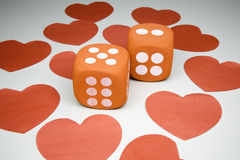 Glücksspiel auf Liebe Stockfotografie