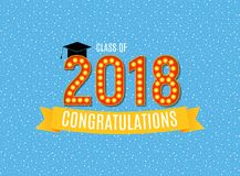 Glückwünsche auf Klassen-Hintergrund-Vektor-Illustration der Staffelungs-2018 Lizenzfreies Stockfoto
