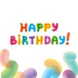 Glückwünsche mit dem Geburtsdatum Baloon-Text Abbildung des Vektor eps10 Lizenzfreies Stockbild