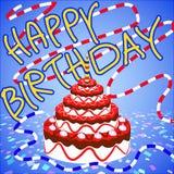 Glückwünsche und alles- Gute zum Geburtstagerdbeerkuchen Stockfotos
