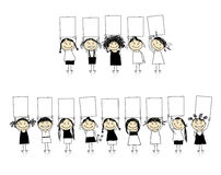 Glückwünsche von den schönen lächelnden Mädchen Stockbilder
