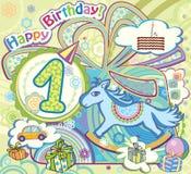 Glückwünsche zum Jungen auf seinem Geburtstag. Ein. vektor abbildung