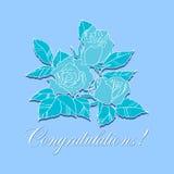 Glückwunsch mit Rosen Stockfoto