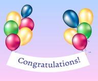 Glückwunsch-Fahne mit Ballonen lizenzfreie abbildung