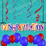 Glückwunschhintergrund mit Konfettis und Ballon Lizenzfreie Stockfotografie