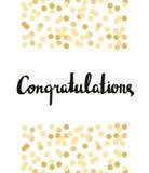 Glückwunschkalligraphie Glückwunsch-Hintergrund mit Goldkonfettis stock abbildung