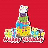 Glückwunschkarte mit auf den Kopf gestelltem Kuchen stock abbildung