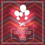 Glückwunschkarte mit Ballonen im Stil der Ebene Lizenzfreies Stockfoto