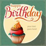 Glückwunschkarte mit kleinem Kuchen und Text stockfotos