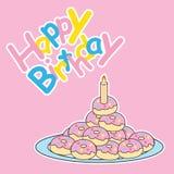 Glückwunschkarte mit nettem Donut Stockbild