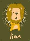 Glückwunschkarte mit nettem Löwe der Illustration Vektor Abbildung