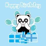 Glückwunschkarte mit nettem Panda und Geburtstagsgeschenk Lizenzfreies Stockbild