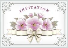 Â-Glückwunschkarte mit rosa Blumen Lizenzfreie Stockfotos