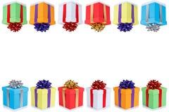 Glückwunschkartegeschenk-Weihnachtsgeschenke copyspace Kopien-Raum boxe stockbilder