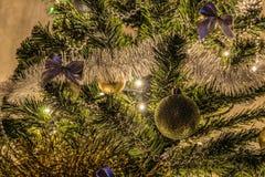 Glühen der verzierten Weihnachtsausgangsfichte angesichts der LED-Girlande Lizenzfreie Stockbilder