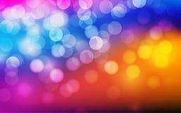 Glühen hell auf einem bunten bokeh Hintergrund lizenzfreie abbildung