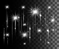 Glühen lokalisierte weißen transparenten Effekt, Blendenfleck, Explosion, Funkeln, Linie, Sonnenblitz, Funken und Sterne Für Illu Stockbild