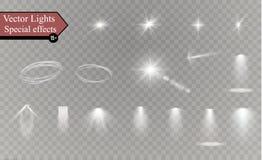 Glühen lokalisierte weißen transparenten Lichteffektsatz, Blendenfleck, Explosion, Funkeln, Linie, Sonnenblitz, Funken und Sterne lizenzfreie stockfotografie