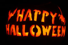 Glühen orange und gelbes glückliches Halloween Lizenzfreie Stockfotos