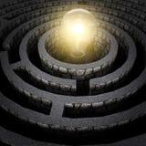 Glühenbirne innerhalb des Labyrinths Lizenzfreie Stockfotografie