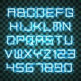 Glühende Azure Neon Alphabet Lizenzfreies Stockbild