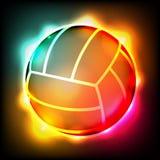 Glühende bunte Volleyball-Illustration Lizenzfreie Stockfotografie